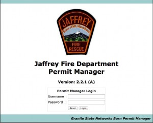 Electronic Fire Permitting Program for the Jaffrey Fire Department